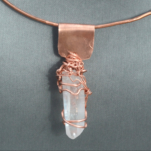 Quartz Necklace Smoky Quartz Necklace Wire Wrapped Necklace Primitive Necklace Boho Necklace Tribal Copper Necklace with Quartz